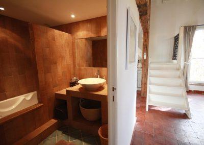 De badkamer van gîte Petit Paradis
