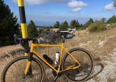 Climbing the Mont Ventoux on a bicycle